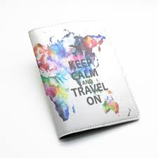 Personalized World Travel Map by Pu Leather Passport Holder Case Cover Travel Wallet Colorful