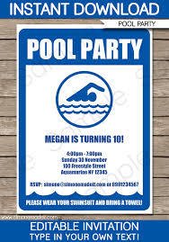 pool party invitations birthday party template