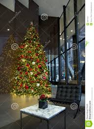 business building lobby christmas tree lights royalty free stock