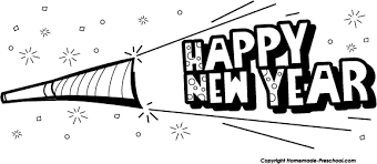 new years party blowers blowers black and white clipart