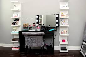 Black Vanity Table With Mirror Small Black Makeup Vanity Table Set With Lighted Mirror And