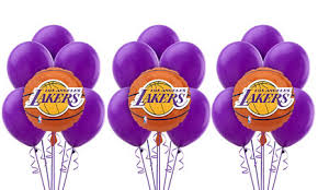 balloon arrangements los angeles los angeles lakers balloon bouquet 5pc basketball party city canada