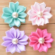 flowers for headbands 20pcs 5cm satin fabric flowers for headbands hair with pearl