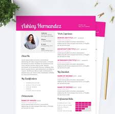 bright pink resume cover letter u0026 references template package