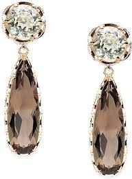 smoky quartz earrings tacori 18k925 prasiolite smokey quartz drop earrings se100p1217