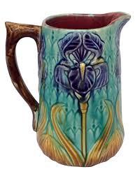 french mjolica iris pitcher majolica pitchers pinterest