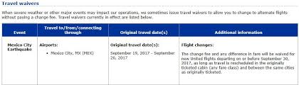 united airlines flight change fee travel waiver mexico city earthquake september 19 2017