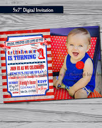 First Birthday Invitation Cards For Boys 4th Of July Invitation First Birthday Party Red White And