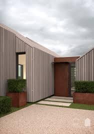 Modern Barn House Annabelle Tugby Architects Corten Steel Door On Cedar Timber