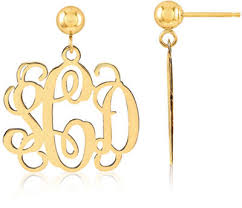 monogram earrings 14k yellow gold monogram earrings