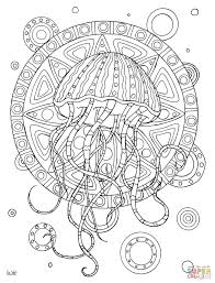 jellyfish with tribal pattern coloring page free printable