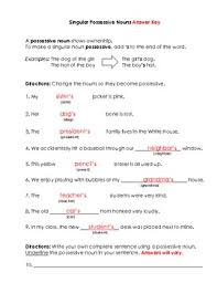 nouns singular possessive nouns worksheet and key by bigredapple