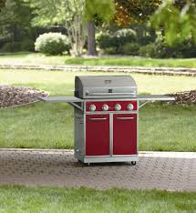 Backyard Grill 4 Burner Gas Grill by Kenmore Red 4 Burner Gas Grill With Folding Side Shelves And Lit Knobs