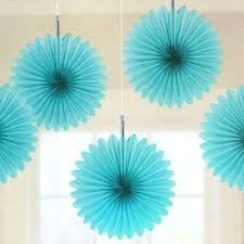 5 turquoise tissue paper fan decorations pipii