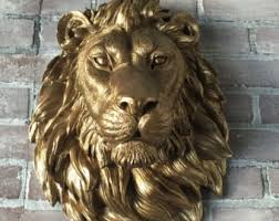 gold lion statue any color or gold lion wall mount faux taxidermy 3d