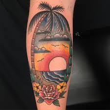 traditional beach scene tattoo aloha hidden hand tattoo seattle