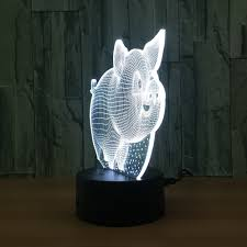 Schlafzimmer Lampe Lila N662 3d Nettes Schwein Action Figure Modell Stil Led Lampe 7