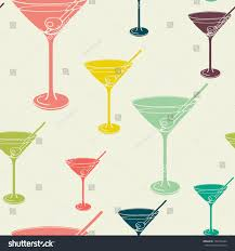 martini glasses clipart vintage seamless pattern martini glass silhouettes stock vector