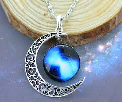 blue moon necklace images Beautiful blue moon chain necklace bybushwick png