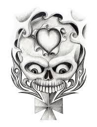 skull heart cross art tattoo stock illustration image 55355080