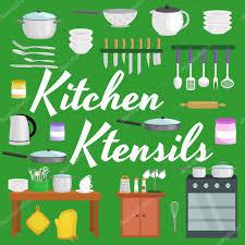 kitchenware icons vector set cartoon kitchen utensil collection