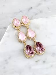Pink Chandelier Earrings Pink Bridal Chandeliers Blush Pink Chandelier Earrings Pink