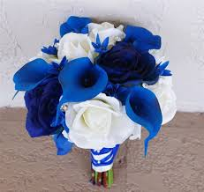 Blue Roses Natural Touch Open Off White And Blue Roses Bouquet
