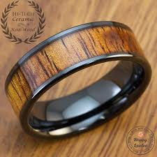 wood inlay hi tech black ceramic ring with koa wood inlay 8mm flat shape comf