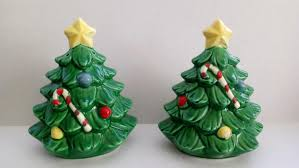 vintage christmas tree salt and pepper with yellow star japan