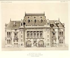 beautiful front elevation of a projected city hall france from