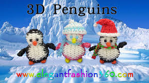 rainbow loom penguin 3d charms how to loom bands tutorial
