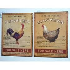 poule deco cuisine plaque deco publicitaire en fer style emaille cuisine motifs coq