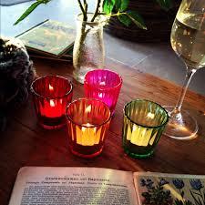 vintage coloured tea light holders set of four brambleandfox
