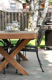diy outdoor table free plans cherished bliss build this diy outdoor table featuring a herringbone top and x brace legs would also