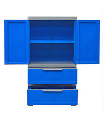 nilkamal freedom 2 door cabinet with 2 drawers blue buy