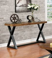 Wood Sofa Table Furniture Of America Cm4612s Oak And Black Finish Wood Sofa