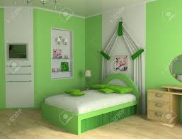 green children u0027s room with a bed 3d image stock photo picture and