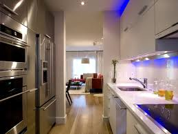 Kitchen Cabinets For Small Galley Kitchen Kitchen Contemporary White Galley Kitchen Design With Blue Led