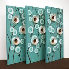 teal and brown wall art home decor mixed media artwork on canvas
