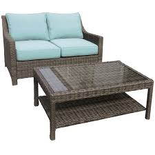 Settee At Dining Table Laguna 2 Piece Wicker Settee And Coffee Table Set At Home At Home