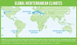 Mediterranean Sea World Map by California U0027s Mediterranean Climate Almond Board Of California