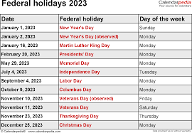 federal holidays 2023 usa png