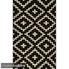 Black Jute Rug Mersa Diamonds Black Flat Weave Reversible Wool Dhurrie Rug 5 U0027 X