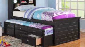 black captain twin bookcase bed with trundle bed and 3 drawers