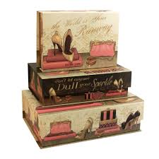 Set 3 Decorative Storage Boxes Pretty In Pink Stacking