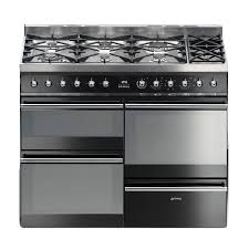 Smeg 110 Gloss Black Induction Smeg Symphony 110cm Syd4110bl Dual Fuel Range Cooker Black 1100