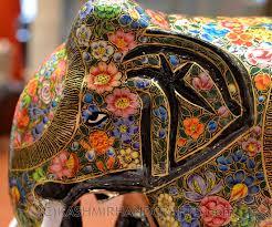 Home Decor Elephants Floral Elephant Paper Mache Sculpture Hand Painted Kashmir Fine