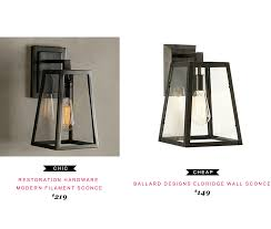 restoration hardware modern filament sconce 219 vs ballard restoration hardware modern filament sconce 219 vs ballard designs eldridge wall sconce 149