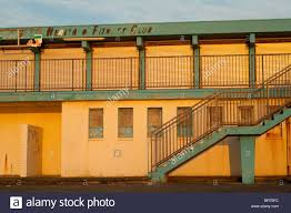 old disused fitness club on the esplanade at prestwick beach stock