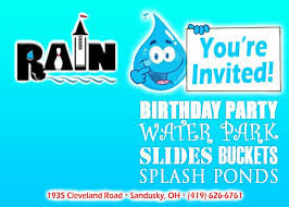 water park invitations rain water park
